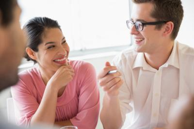 Stock photo - two young people talking